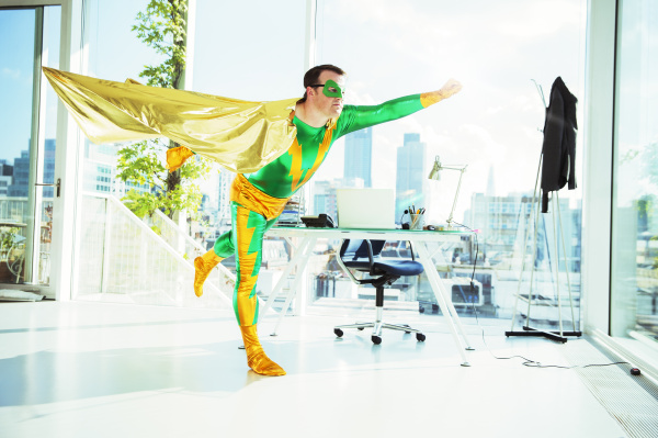 super-herói, voando, no, escritório - 17171328