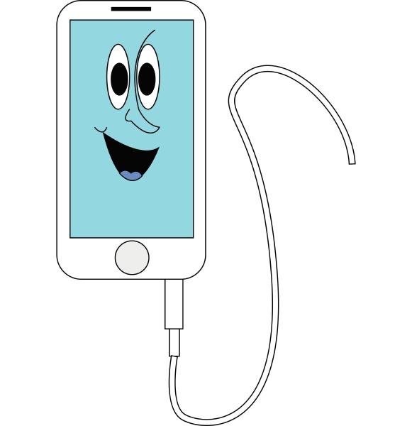 iphone de sorriso branco e azul