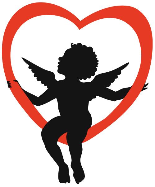 cupido, anjo, sentado, ilustração, silhueta, coração - 28215332