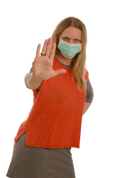 mulher, com, proteção, bucal, e, máscara - 28231813