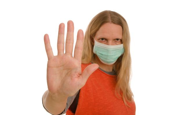 mulher, com, proteção, bucal, e, máscara - 28232129