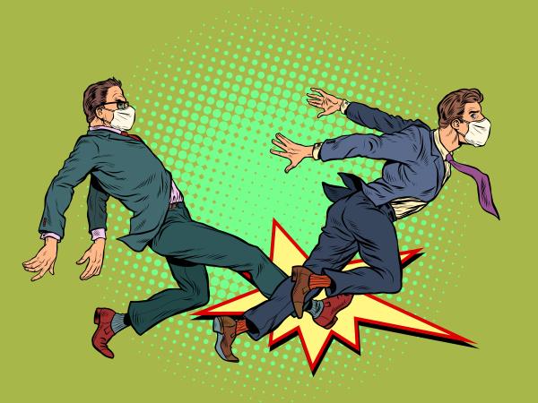 homens lutam competicao pandemia de coronavirus