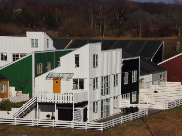 casas coloridas com cercas em perspectiva