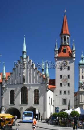 torre bavaria vista prefeitura munique marienplatz