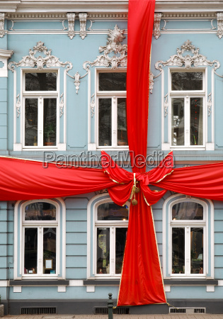 house with red bow as a