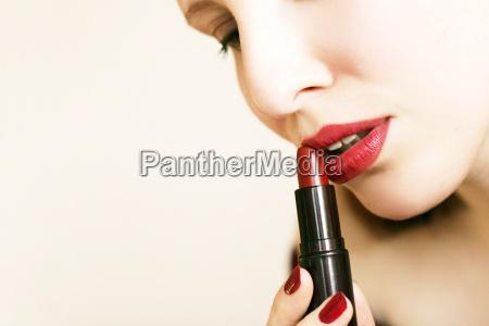 mulher belo agradavel boca face labios