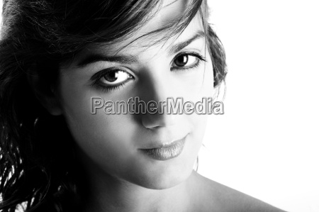 black and white portrait of beautiful