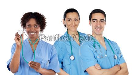 equipe medica de tres medicos