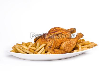 frango frito com batatas fritas