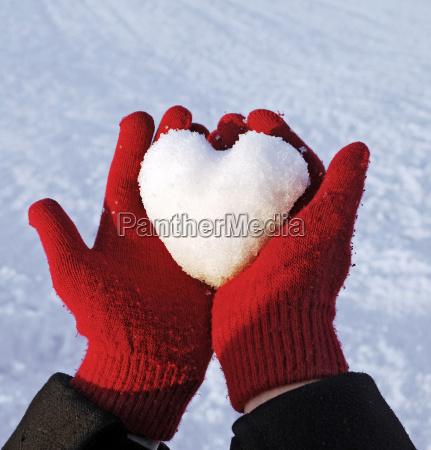 inverno luvas bola de neve amor