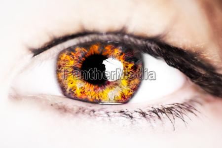 mulher olho orgao fogo pestanas ardente