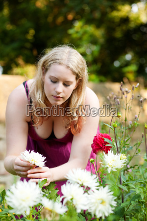 woman in the garden in the