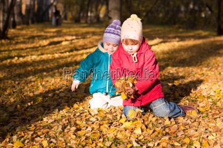 criancas jogam as folhas de outono