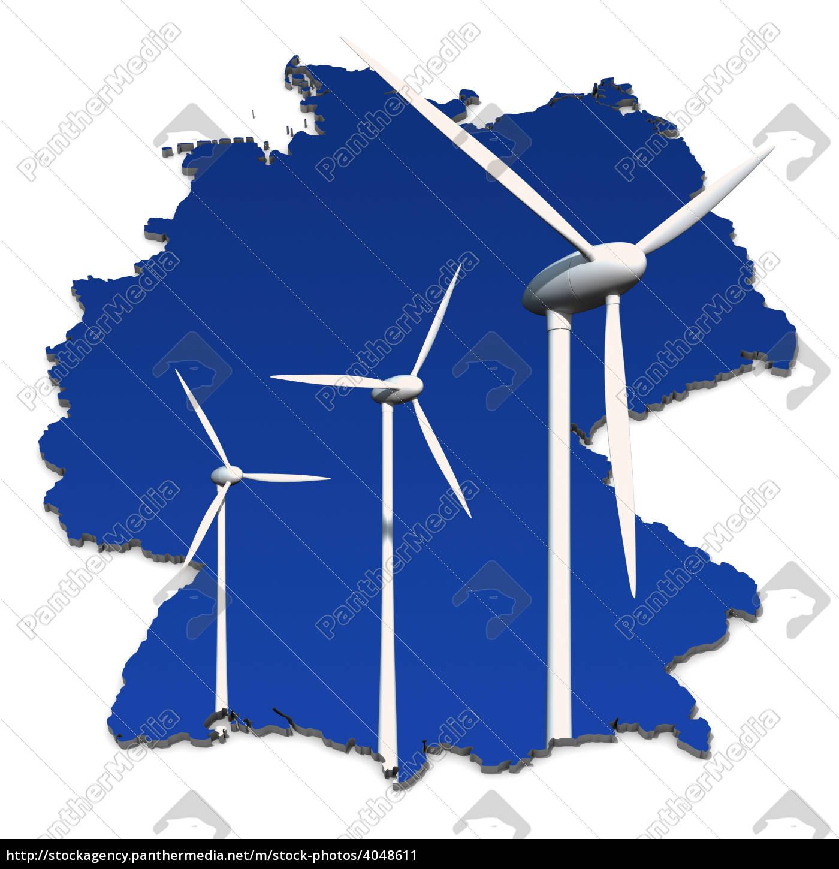 turbina, eólica, em, frente, ao, azul, mapa - 4048611