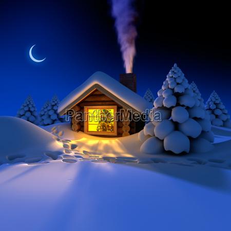 pequena casa no bosque na noite