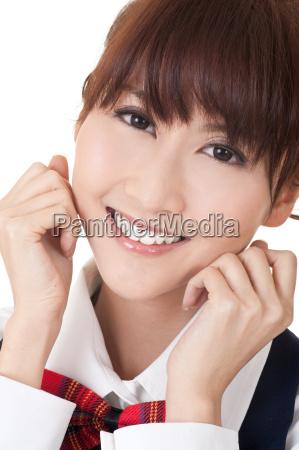 menina asiatica bonito do estudante