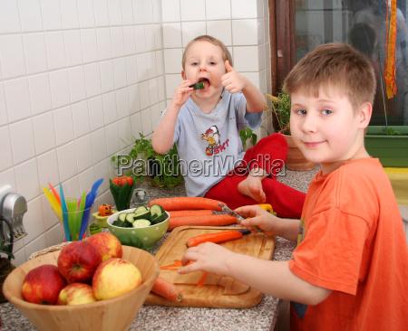 crianças, na, cozinha - 4469729