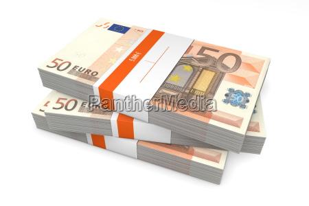 tres pacotes de 50 euro notas