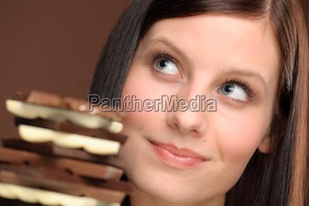 chocolate retrato jovem mulher saudavel