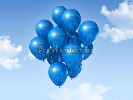 baloes azuis em um ceu azul