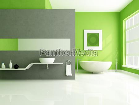 banheiro contemporaneo verde e cinza