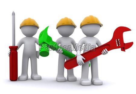 equipe do trabalhador da construcao com