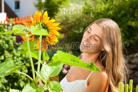 garden in summer happy woman