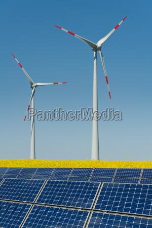 rodas de vento e modulos solares