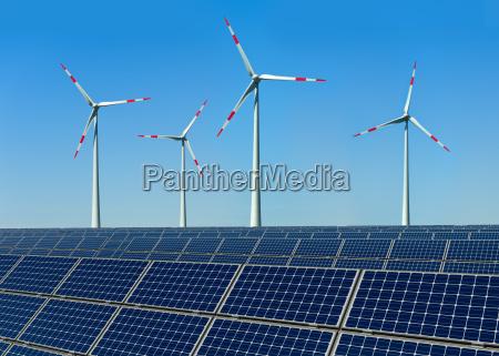 turbinas de vento e paineis solares