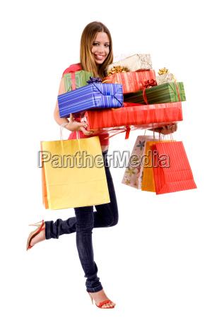 mulher compras encantado feliz alegre gastos