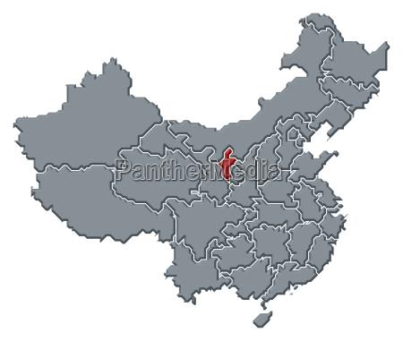 map of china ningxia highlighted