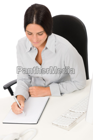 successful business woman at office with