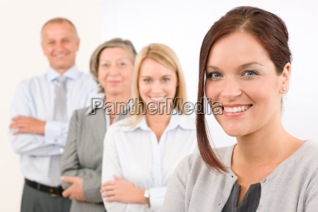 business team happy standing in line