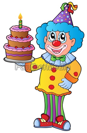 palhaco dos desenhos animados com bolo