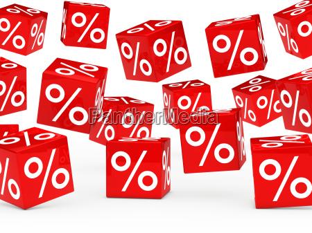 cubos vermelhos da venda por cento