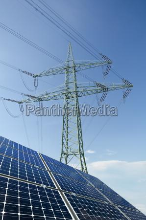 modulos solares e carga da eletricidade