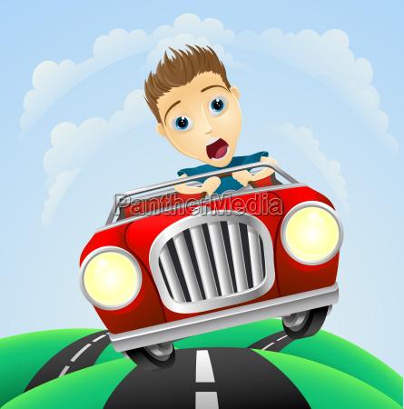jovem que dirige carro classico rapido