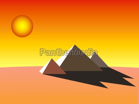 deserto grafico noite piramide ilustracao egito
