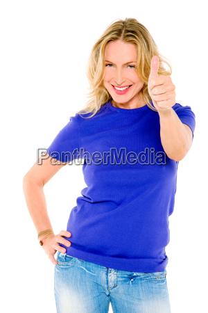 mulher, com, polegar, acima - 6417419