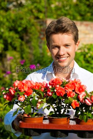 gardening in summer man with