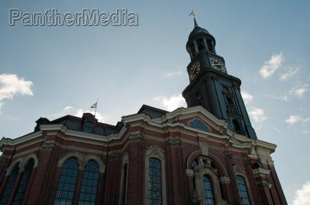 azul torre igreja hamburgo campanario marca