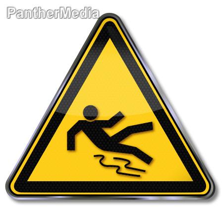 escudo aviso de risco de escorregamento