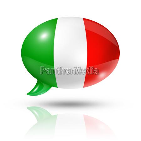 bolha de discurso da bandeira italiana