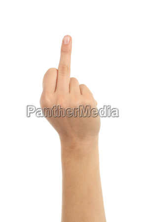 woman hand showing middle finger