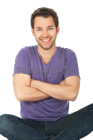 masculino amigavel senta se magro sentar