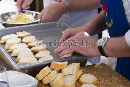 pao fatias preparar ferrugem baguette placa