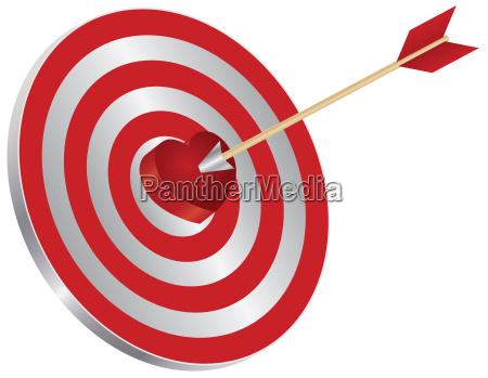 seta na ilustracao do bullseye do
