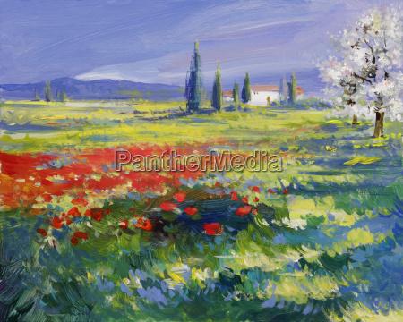pintura de paisagem de verao