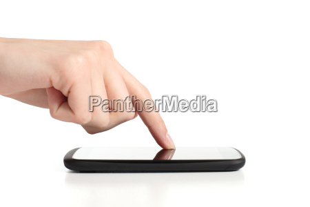 woman hand touching a mobile phone
