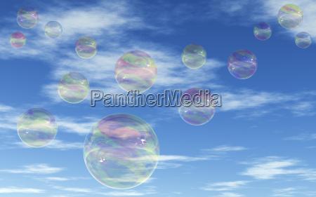 reflexao golpe bolhas transparente ceu nuvens